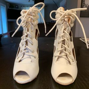 Call it spring lace up high peep toe white heels